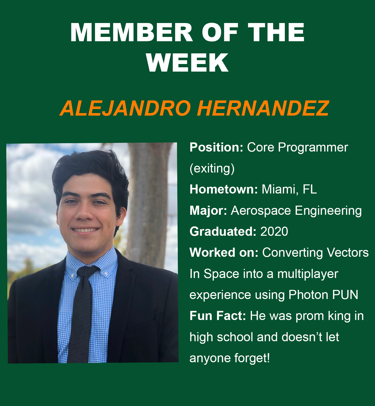 alejandro, member of the week